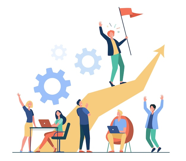 Business leader standing on arrow and holding flag flat vector illustration. cartoon people training and doing business plan. leadership, victory and challenge concept
