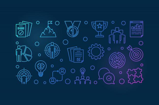 Business leader vector colorful outline illustration
