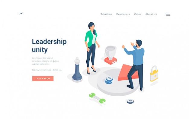 仕事で団結するビジネスリーダー。等角投影図
