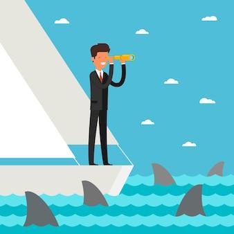 ビジネスのリーダーシップと目標の概念。ビジネスマンは、サメと一緒に海の未来にスパイグラスを通して見ているヨットに立っています。フラットなデザイン、ベクトルイラスト。