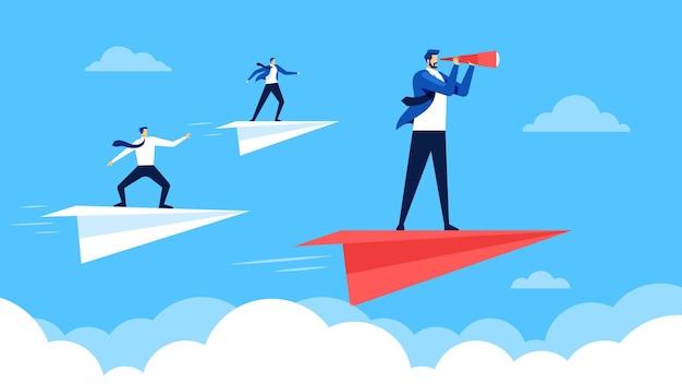 비즈니스 리더십 리더를 따라 성공하는 종이 비행기를 타고 날아가는 기업인