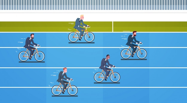 Business leadership and competition concept group of businesspeople ride bicycles competing
