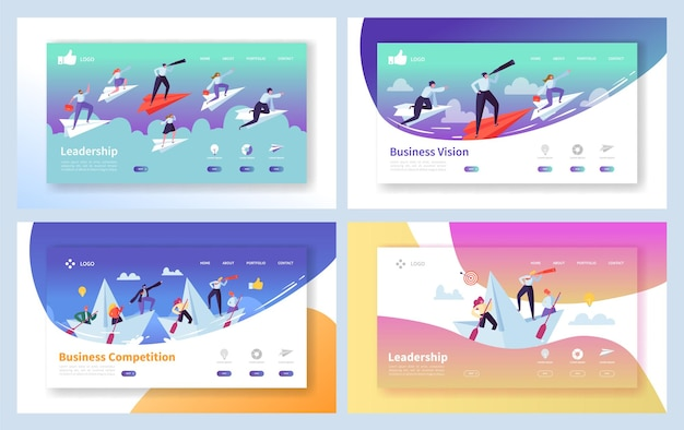 Business leadership growth landing page set.