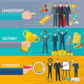 Business leadership horizontal banners set with victory and strategy symbols