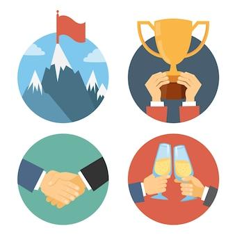 フラットなデザインのビジネスリーダーシップベクトルイラスト:成功のお祝いの勝利と握手