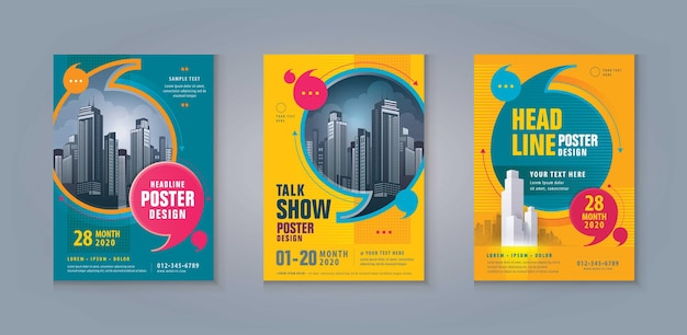 Business leaflet brochure flyer template abstract speech bubbles corporate book cover poster