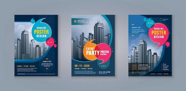 Business leaflet brochure flyer template design corporate flyer template abstract speech bubbles