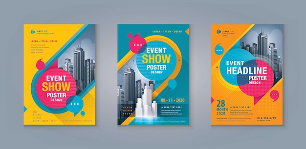 Business leaflet brochure flyer template design set abstract colorful speech bubbles annual report