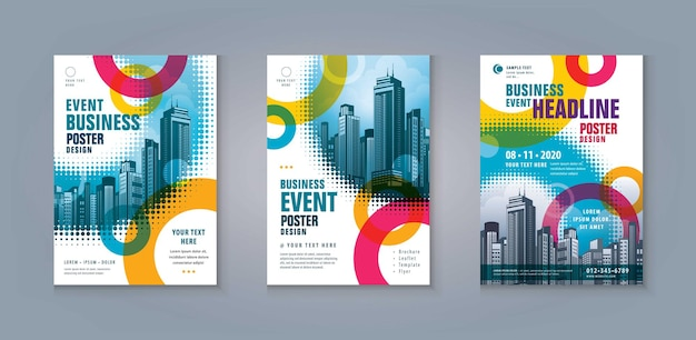 Business leaflet brochure flyer template modern abstract colorful circles halftone dot book cover