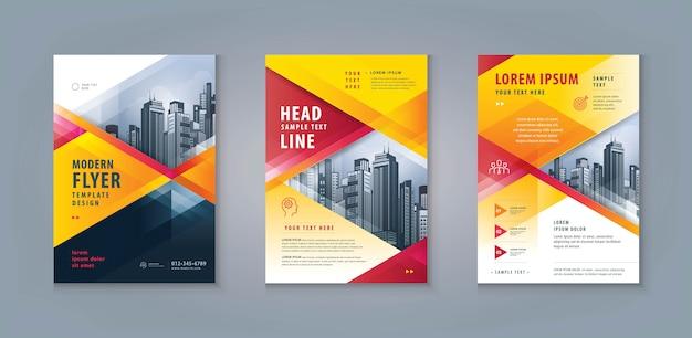 Бизнес листовка флаер шаблон дизайн набор. корпоративный шаблон флаера формата а4