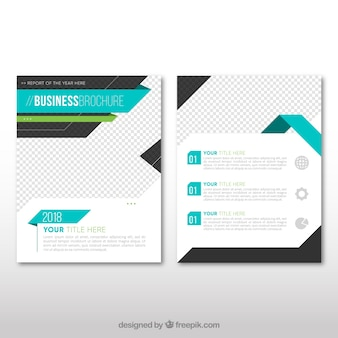 Business leaflet template with blue elements