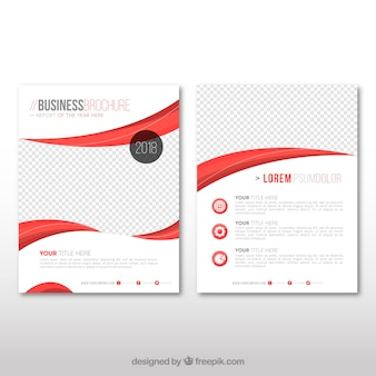 Business leaflet with red wavy forms