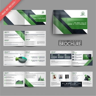 Business leaflets with green shapes