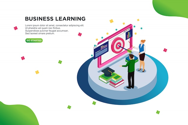 Business learning isometric vector illustration concept