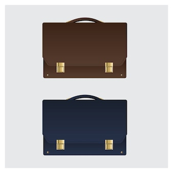 Business leather briefcase on white background