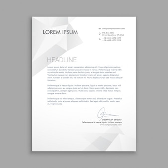 Business letter with grey polygons