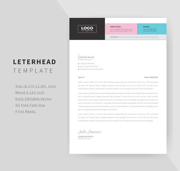 Business letterhead template design for office