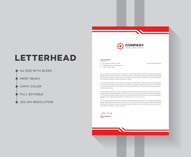 Business letterhead template design Premium Vector
