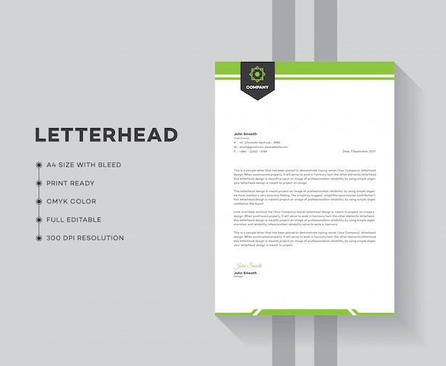 Business letterhead template design Premium Vector