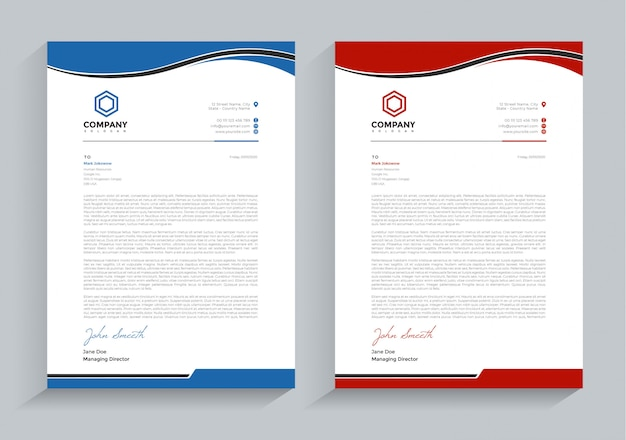 Business letterhead tow color version template