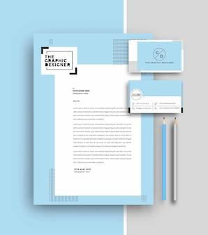 Business letterhead with business card templates design, vector illustration. Premium Vector