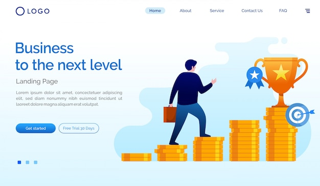 Business to the next level landing page website illustration vector template