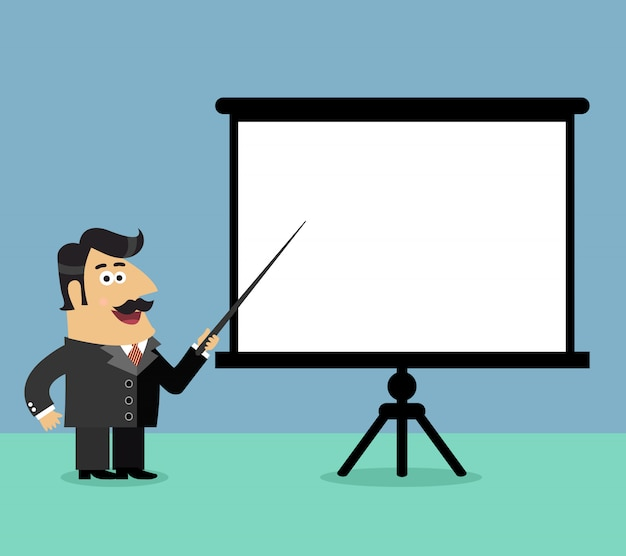 Business life shareholder boss makes a presentation pointing on blank flip chart scene vector illustration