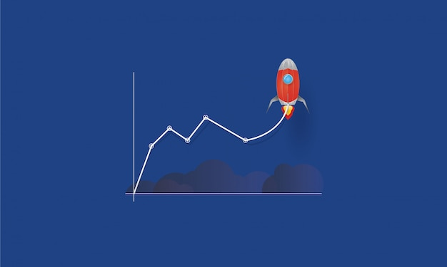 Business line chart with rocket taking off, startup to success, business concept