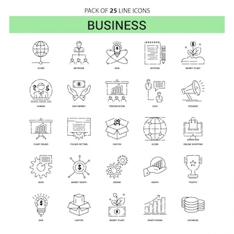 Business line icon set - 25 dashed outline style