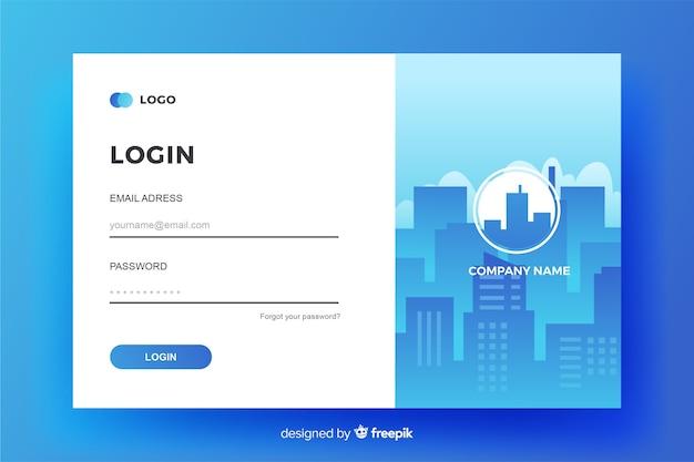 Business log in landing page design