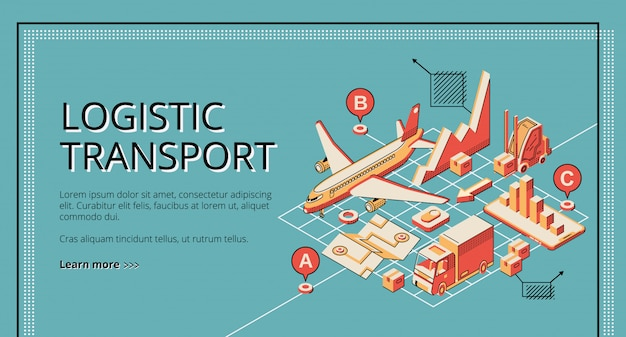 Business logistic transport isometric  web banner, landing page.