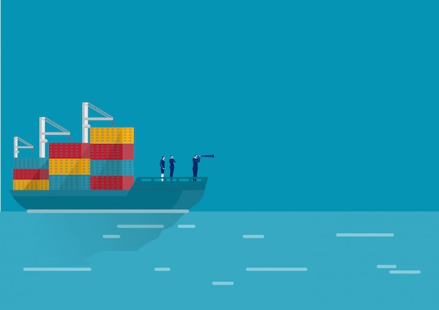 Business logistic with maritime freight transportation container in dock vector.