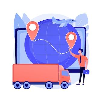 Illustrazione di vettore di concetto astratto di logistica aziendale. tecnologie logistiche intelligenti, servizio di consegna commerciale, trasporto aziendale in tutto il mondo, metafora astratta di spedizione di prodotti globali.