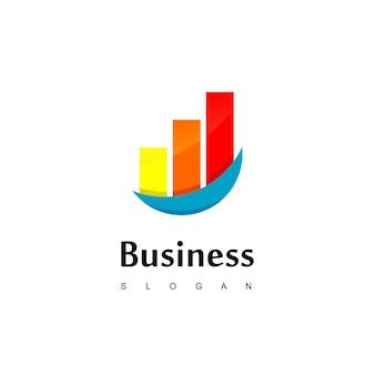 良好な進捗チャート図とビジネスロゴ