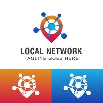 Бизнес-логотипы сетевого местоположения с символом карты булавки