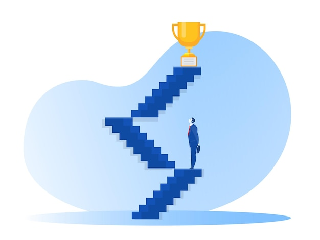 Business lookining stair way  to success for award concept illustrator.