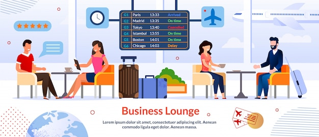 Business lounge in airport advertising banner template