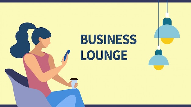 Business lounge zone flat banner