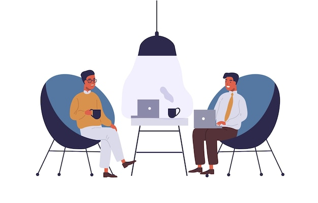 Business lounge zone flat illustration. coworkers having lunch break at office relax area