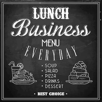 Business lunch menu on a chalkboard. .