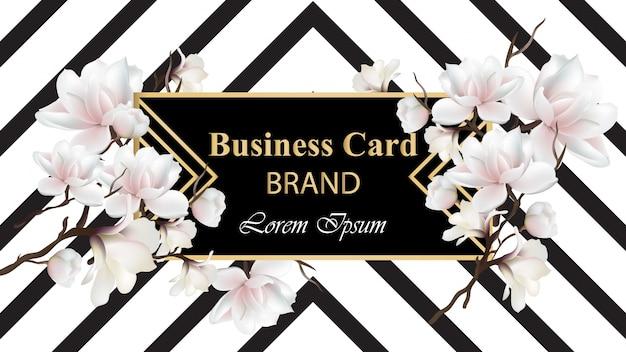 ビジネスラグジュアリーカードのベクトル。花のインテリアと現代抽象的なデザイン。テキストのための場所