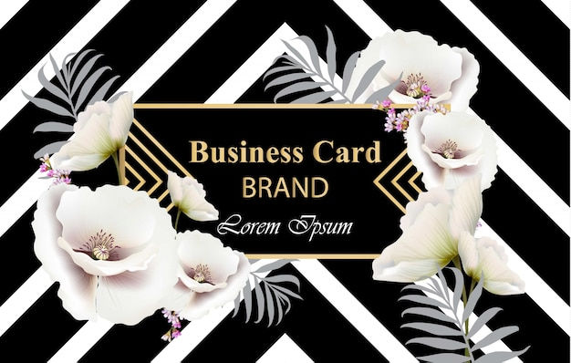 ビジネスラグジュアリーカードのベクトル。ケシの花の装飾と現代抽象的なデザイン。テキストのための場所
