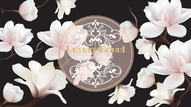 ビジネスラグジュアリーカードのベクトル。マグノリアの花の装飾が施されたモダンなデザイン。テキストのための場所
