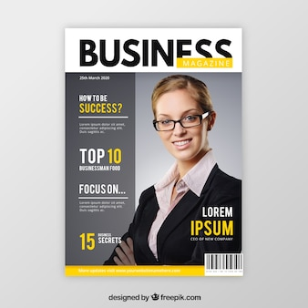 Business magazine cover template with model posing