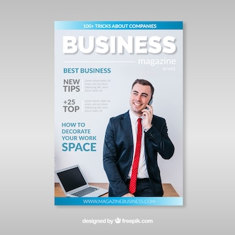 Business magazine cover template with photo