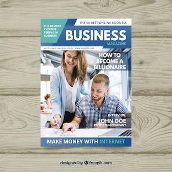 Шаблон журнала бизнес-журнала с фотографией Бесплатные векторы