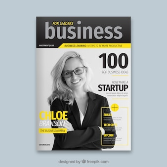 Business magazine cover with photo
