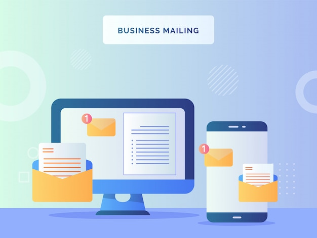 Business mailing concept text notification sign on monitor computer nearby smart phone with flat style.