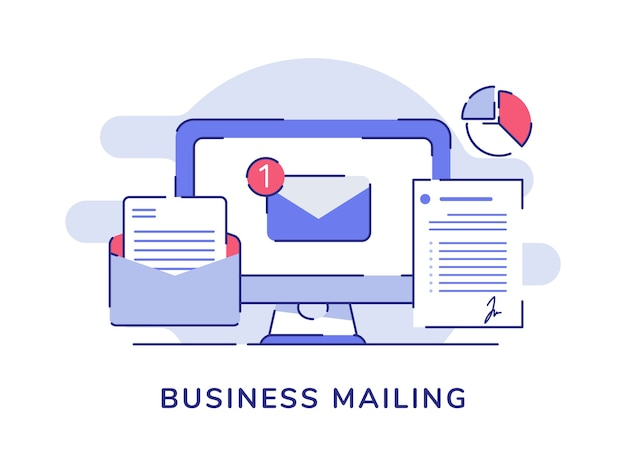 Business mailing email white isolated background