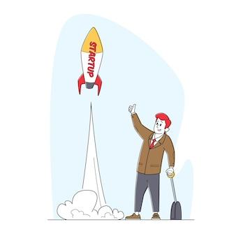 비즈니스 남성 캐릭터 푸시 레버 팔 발사 로켓 이륙. 시작 프로젝트를 제시하는 사업가
